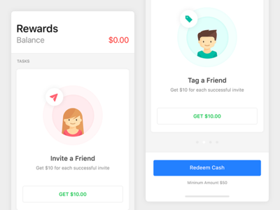 Rewards  - Invite & Earn friends money earn rewards apple ios iphone mobile ui tag invite