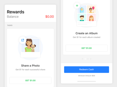 Rewards  - Share or Create & Earn photos create album ui mobile iphone x ios share rewards earn money friends