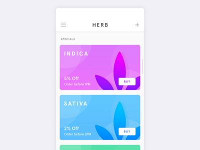 Herb - Weed Delivery App ui mobile store shop marijuana ecommerce delivery cannabis iphone x ios weed app