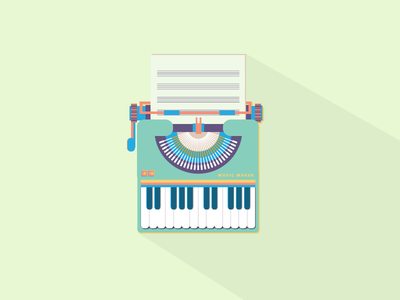 Music Maker typewritter music mobile web wallpaper symbol ui ux icon design vector onevectordiary