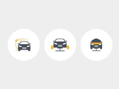 Bicolor icons - car service