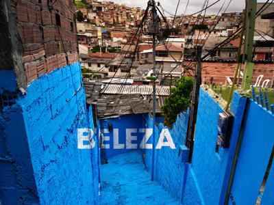 BELEZA art urban art painting mural urban intervention mural painting colourful brasil sao paulo favela brasilandia crossroads project participative typeface floating word anamorphosis beauty