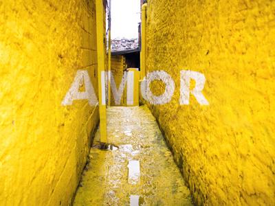 AMOR love beauty anamorphosis floating word typeface participative crossroads project brasilandia favela sao paulo brasil colourful mural painting urban intervention mural painting urban art art