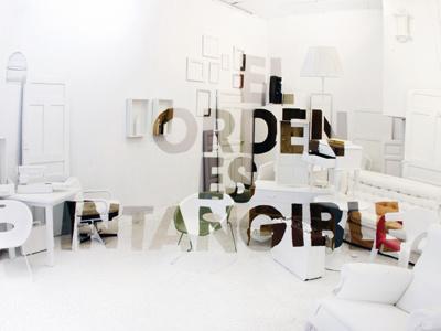 El Orden en Intangible art urban art painting mural instalation mural painting typeface floating sentence anamorphosis furniture white interior design