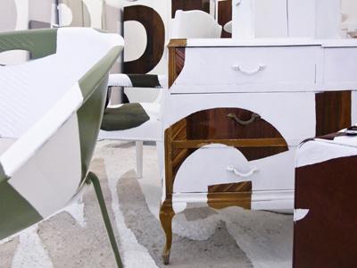 El Orden en Intangible, detail interior design white furniture anamorphosis floating sentence typeface mural painting instalation mural painting urban art art