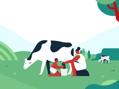 Good old days character cow green explainervideo agritech agriculture branding animation illustration