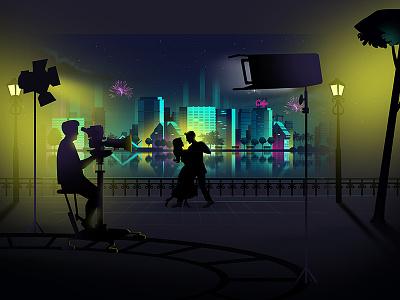 John J Cinema Style Frame city view light movie shooting dance film night view style frame title animation animation illustration