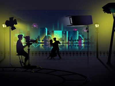 John J Cinema Style Frame city view light movie shooting dance film night view style frame title animation animation illustration
