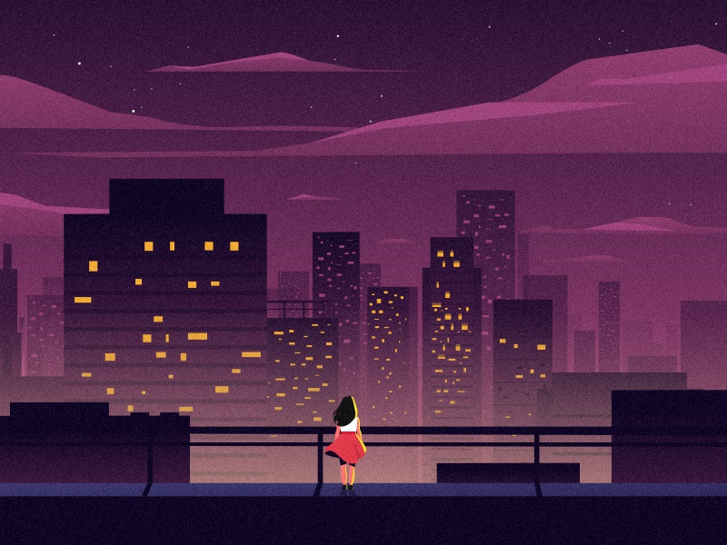The dreaming girl city scape city night background girl motion graphics