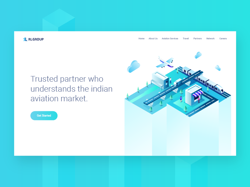 RL Group Landing Page building web user ui site illustration page landing minimal interface character isometric