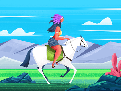 Wild Beauty Illustration red indian valley landscape beauty woman animal nature ride horse girl wild illustration
