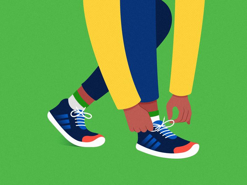 Monday Motivation green foot sport shoelase animation sports shoe illustration
