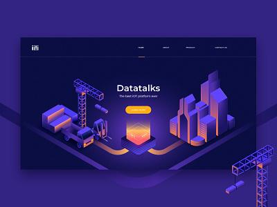 DataTalks Landing Page truck crane ui design machine building data illustration landing page website ux ui