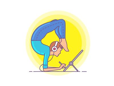 Yoga Day Illustration yogaday graphic tablet headset meditation pose drawing designer artist illustration yoga