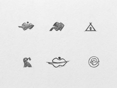 Logo Explorations e hill mountain tent elephant leaf travel symbols marks identity explorations process logo process branding logo