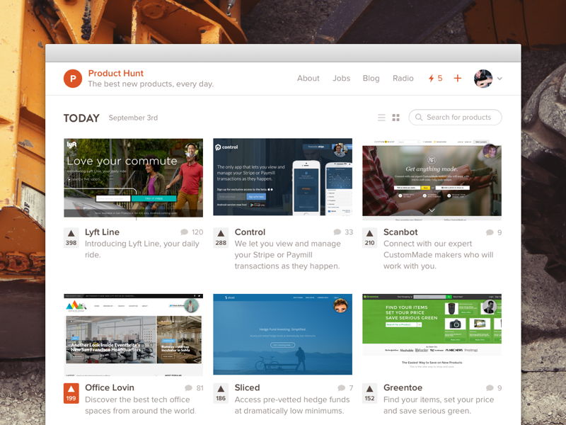 Grid View product hunt grid website truck orange simple