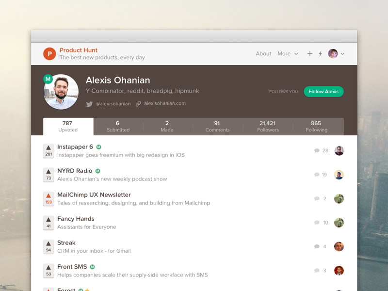 Profile product hunt alexis website brown tabs white upvotes