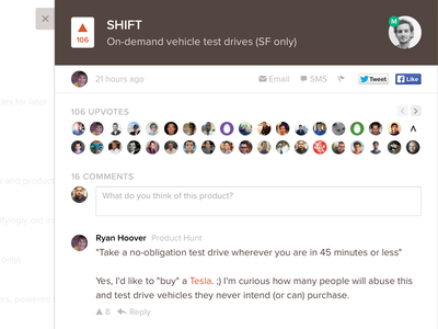 New detail web product hunt detail modal social