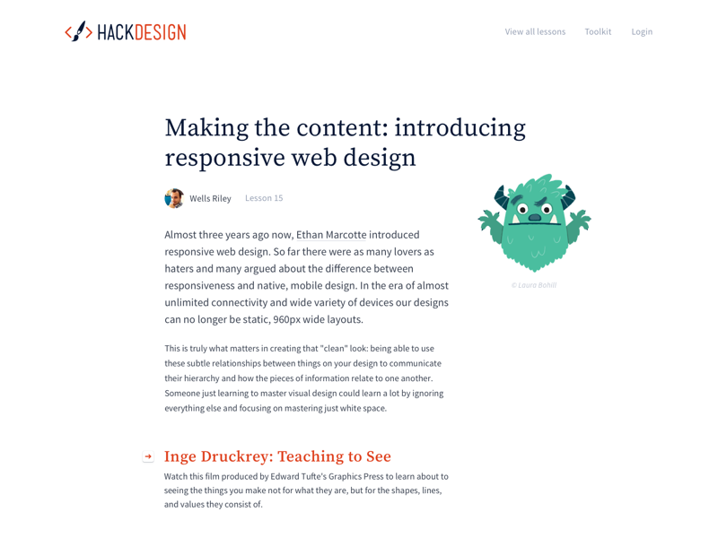 Lesson hackdesign articles lessons white orange illustrations lots and lots of white