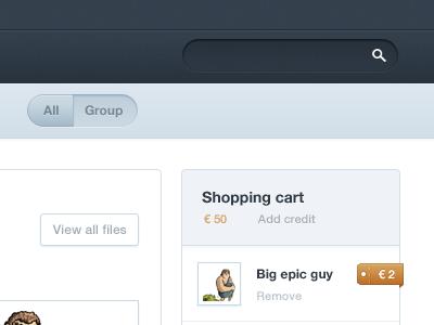 Shopping cart website dark blue search