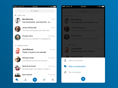 Sideproject: LinkedIn Chat linkedin chat white app ios
