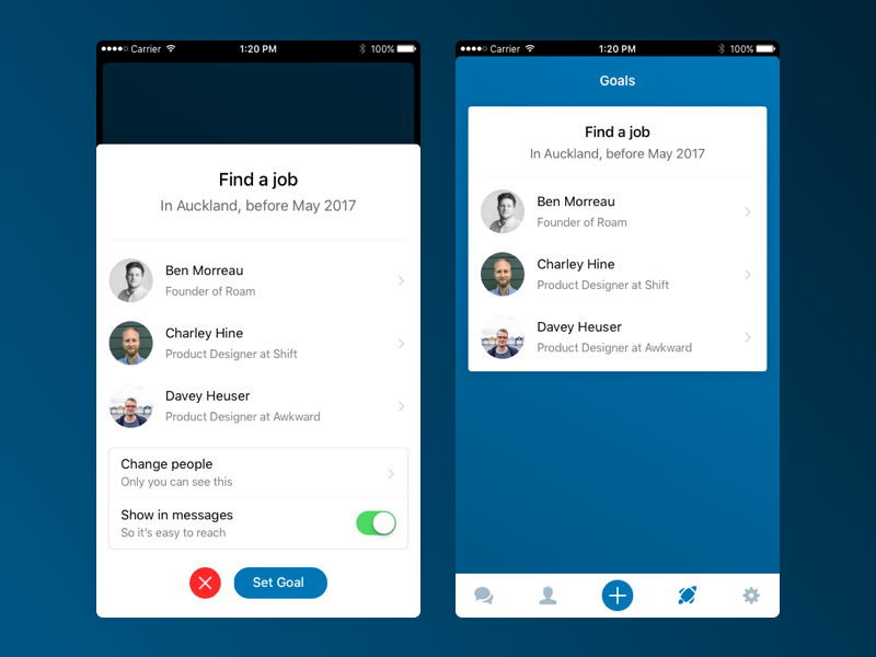Sideproject: LinkedIn Goals goals linkedin chat white app ios