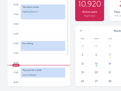 Play pool for a while calendar blue red widgets dashboard