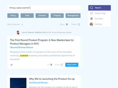 Hiring a data scientist cards first search first round purple blue search