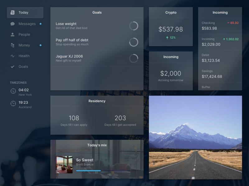 Another personal dashboard ui web life goals dashboard