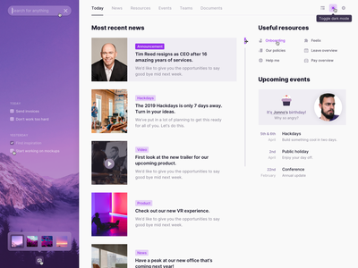 Most recent news purple ui web plugin home dashboad