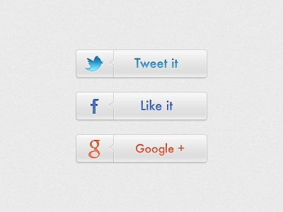 Social Buttons button buttons social ui twitter tweet like plus google share clean white facebook icons