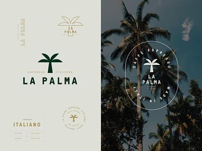Branding for La Palma Espresso Italiano tropical palma palm cafe italiano espresso coffee monogram logotype emblem logo visual identity brand identity branding