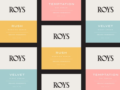 Branding for Roys Natural Skincare haircare cosmetics skincare typography layout emblem logotype logo packaging design colors label design label brand identity branding roys