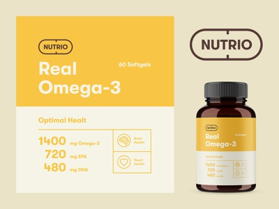 Packaging design for Nutrio Omega-3 logotype nutrition label packaging packaging design fish oil omega omega 3 supplement vitamin logo design logo brand identity branding