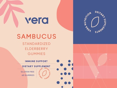 Branding for Vera leaf flower organic packaging packaging design label sambucus supplement vitamin emblem logotype logo brand identity branding