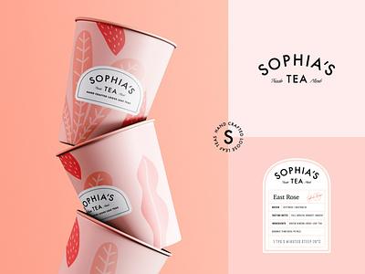 Branding for Sophia's Tea illustration tea packaging tea branding drink tea label packaging packaging design logotype emblem logo brand identity branding