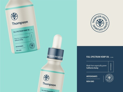 Packaging Design for Thompson Hemp Oil brand identity branding emblem logo dietary vitamin supplement hemp oil hemp cbd packaging design packaging