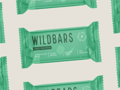 Packaging design for Wildbars logotype supplement nutrition emblem stamp plant based protein bar mint chocolate protein food packaging design packaging branding logo bars bar wild