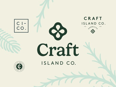 Branding for Craft Island Co. drink kombucha monogram brand identity packaging stamp label logotype emblem logo branding