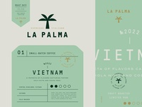 Packaging design for La Palma stamp logotype emblem logo brand identity branding espresso coffee packaging coffee label design label packaging design packaging