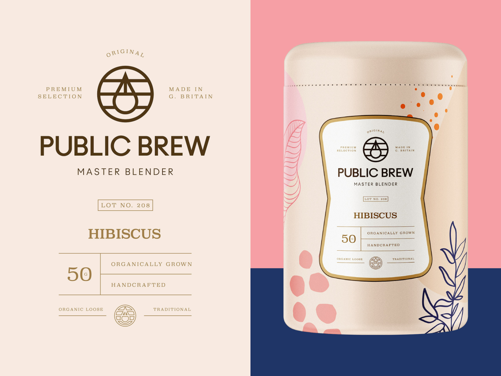 Packaging design for Public Brew Hibiscus Tea monogram label mark emblem logo design logo drink hibiscus tea brand identity packaging design packaging branding