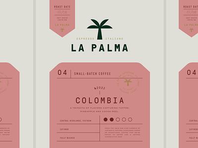 Branding for La Palma Coffee tropical logo design monogram tea drink cafe coffee label logotype emblem packaging logo branding