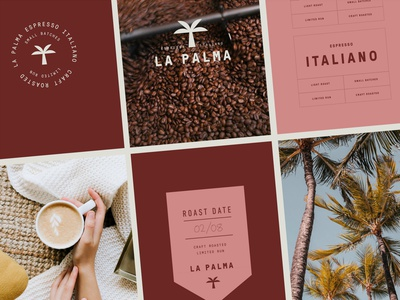 Branding for La Palma Coffee tropical logo design monogram tea drink cafe coffee label logotype emblem packaging logo branding
