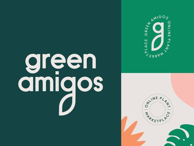 Branding for Green Amigos Plant Marketplace leaf tree plants organic nature flower plant monogram icon packaging emblem logo branding