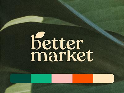 Branding for Better Market 🌱 icon brand identity food organic natural leaf mark emblem logo design logo branding