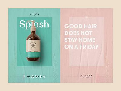 Poster Design for Flavia Botanicals logo branding cosmetics hair care poster flavia