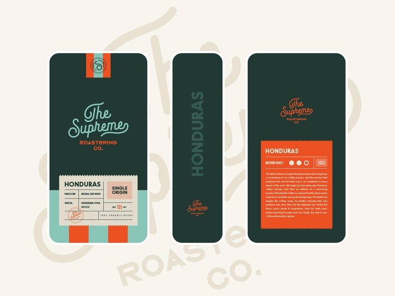 Coffee Packaging for The Supreme Roastering Co. pattern logotype supreme roaster cafe coffee shop logo branding packaging coffee