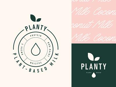 Logo design for Planty stamp plant logo plant based milk label branding emblem logotype logo