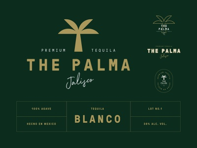 Logo design for The Palma logo branding logotype emblem tequila drink jalisco the palma palm