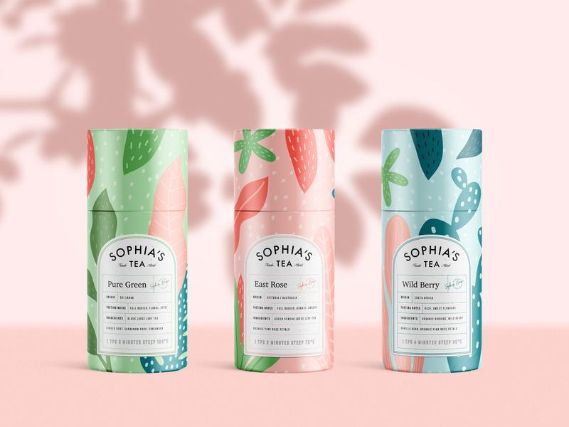 Packaging design for Sophia's Tea beverage label logo branding packaging drink herbal tea